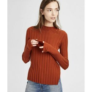 Theory Sweater Wide Ribbed Mock Neck
